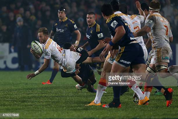 Marty McKenzie of the Chiefs in action during the round 16 Super Rugby match between the Highlanders and the Chiefs at Rugby Park Stadium on May 30...