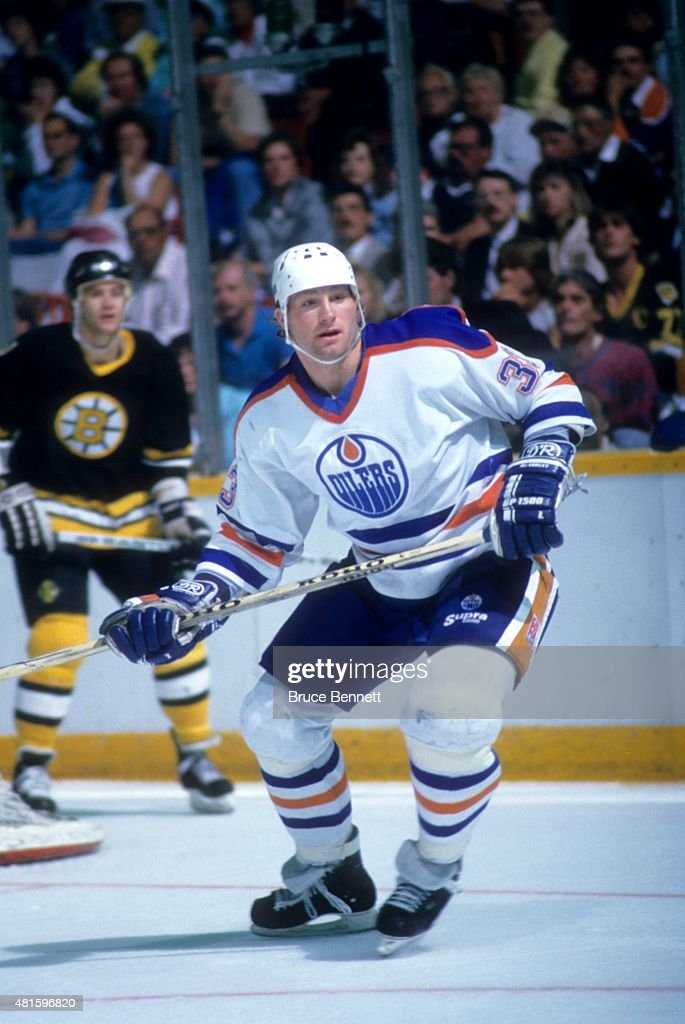 Marty McSorley of the Edmonton Oilers skates on the ice during the 1988 Stanley Cup Finals against the Boston Bruins in May 1988 at the Northlands...