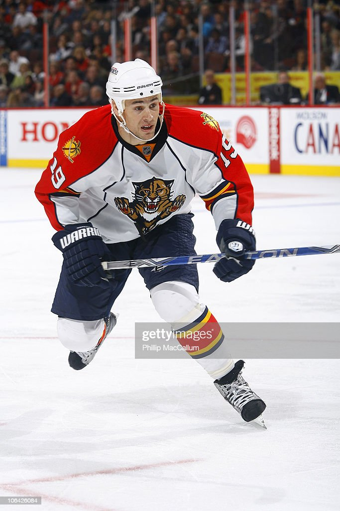 Marty Reasoner of the Florida Panthers skates in a game against the Ottawa Senators at Scotiabank Place on October 28 2010 in Ottawa Ontario Canada