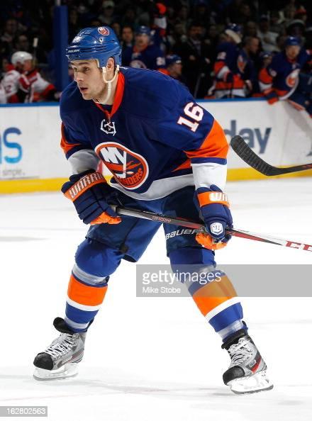 Marty Reasoner of the New York Islanders skates against the Carolina Hurricanes at Nassau Veterans Memorial Coliseum on February 24 2013 in Uniondale...
