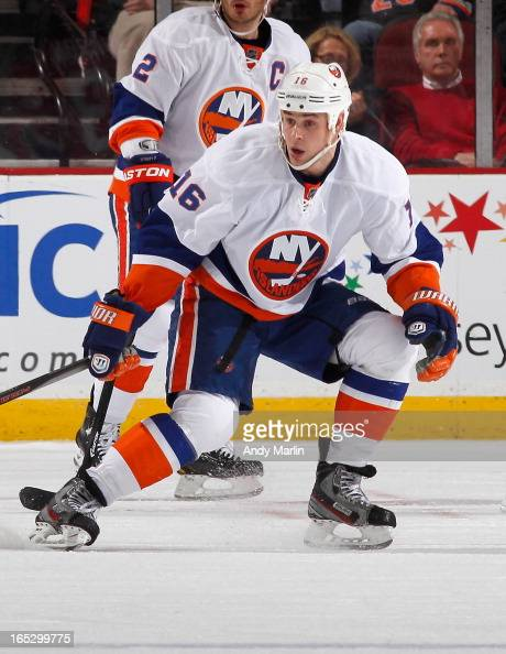 Marty Reasoner of the New York Islanders skates against the New Jersey Devils during the game at the Prudential Center on April 1 2013 in Newark New...