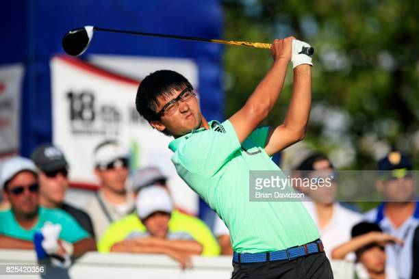 Marty Zecheng Dou drives the ball on the 18th hole during the Digital Ally Open of the WEBCOM Tour at Nicklaus Golf Club at Lionsgate on July 30 2017...