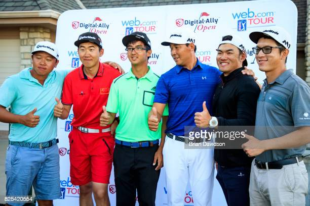 Marty Zecheng Dou poses for a photo after winning the Digital Ally Open of the WEBCOM Tour at Nicklaus Golf Club at Lionsgate on July 30 2017 in...