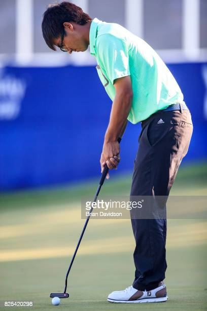 Marty Zecheng Dou putts on the 17th hole during the Digital Ally Open of the WEBCOM Tour at Nicklaus Golf Club at Lionsgate on July 30 2017 in...