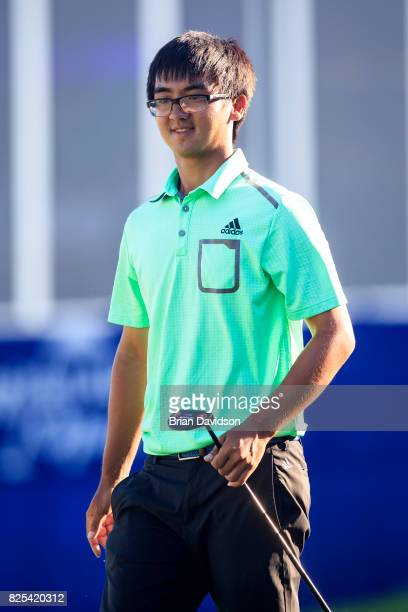 Marty Zecheng Dou smiles after putting on the 17th hole during the Digital Ally Open of the WEBCOM Tour at Nicklaus Golf Club at Lionsgate on July 30...