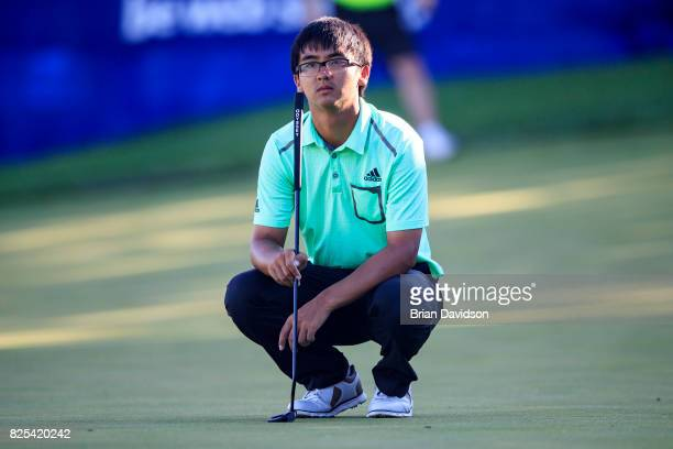 Marty Zecheng Dou waits for his turn on the 17th hole during the Digital Ally Open of the WEBCOM Tour at Nicklaus Golf Club at Lionsgate on July 30...