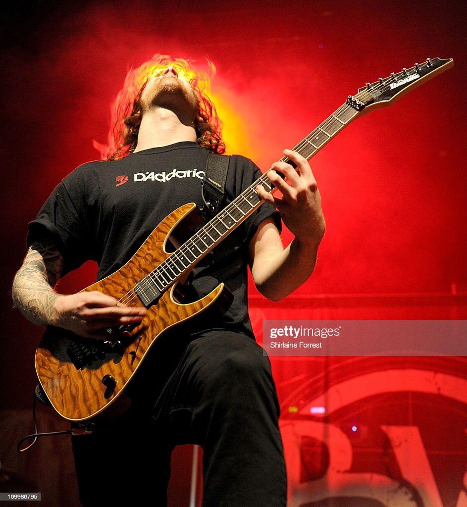 Martyn Evans of Bleed From Within performs supporting Megadeth at Manchester Academy on June 5, 2013 in Manchester, England.