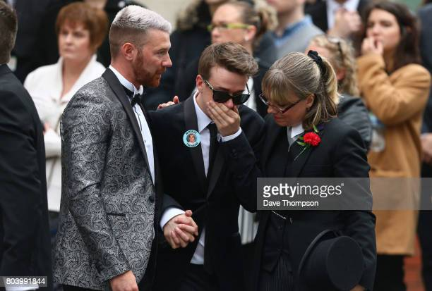 Martyn Hett's partner Russell Hayward leaves the funeral of Martyn Hett at Stockport Town Hall on June 30 2017 in Stockport England 29 year old...