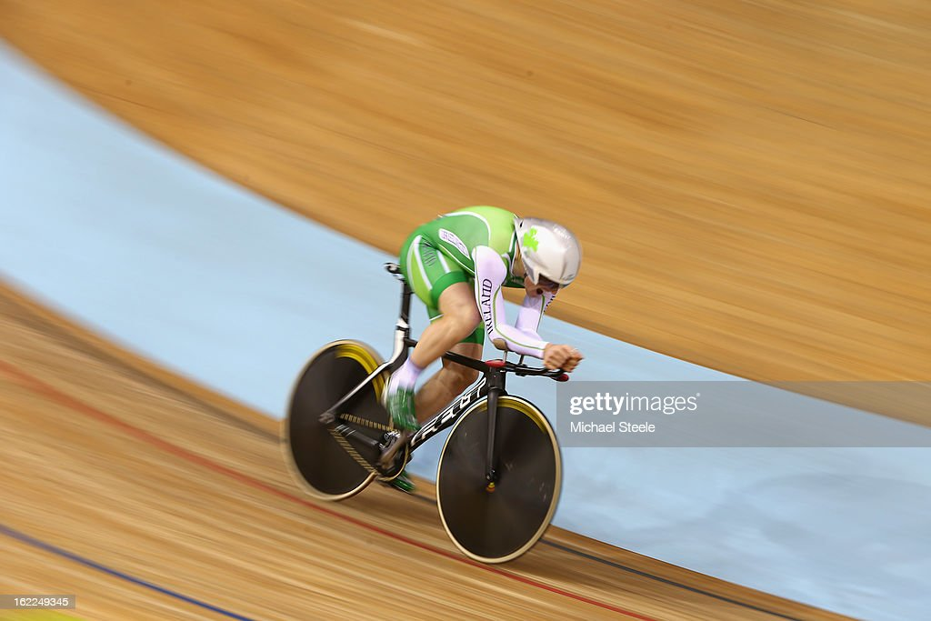 Martyn Irvine of Ireland on his way to qualifying second fastest in the men's individual pursuit during day two of the UCI Track World Championships at Minsk Arena on February 21, 2013 in Minsk, Belarus.