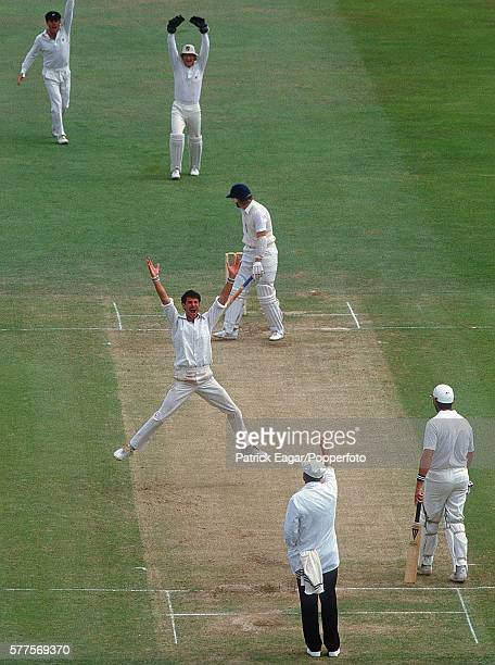 Martyn Moxon of England is out lbw to Richard Hadlee of New Zealand in the second innings of the 1st Test match between England and New Zealand at...