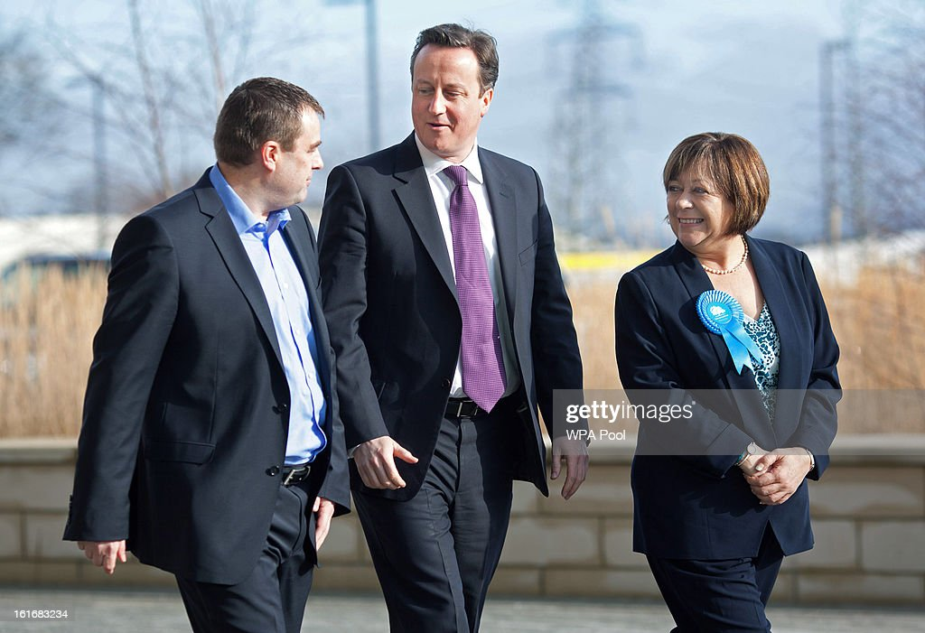 Martyn Phillips, Prime Minister David Cameron and Conservative party candidate Maria Hutchings are seen at the headquarters for B&Q, the DiY superstore during the campaign period prior to a by-election on February 14, 2013 in Eastleigh, Hampshire. A by-election has been called in the constituency of Eastleigh after its former MP, Chris Huhne, resigned after pleading guilty to perverting the course of justice over claims his ex-wife took speeding points for him in 2003.