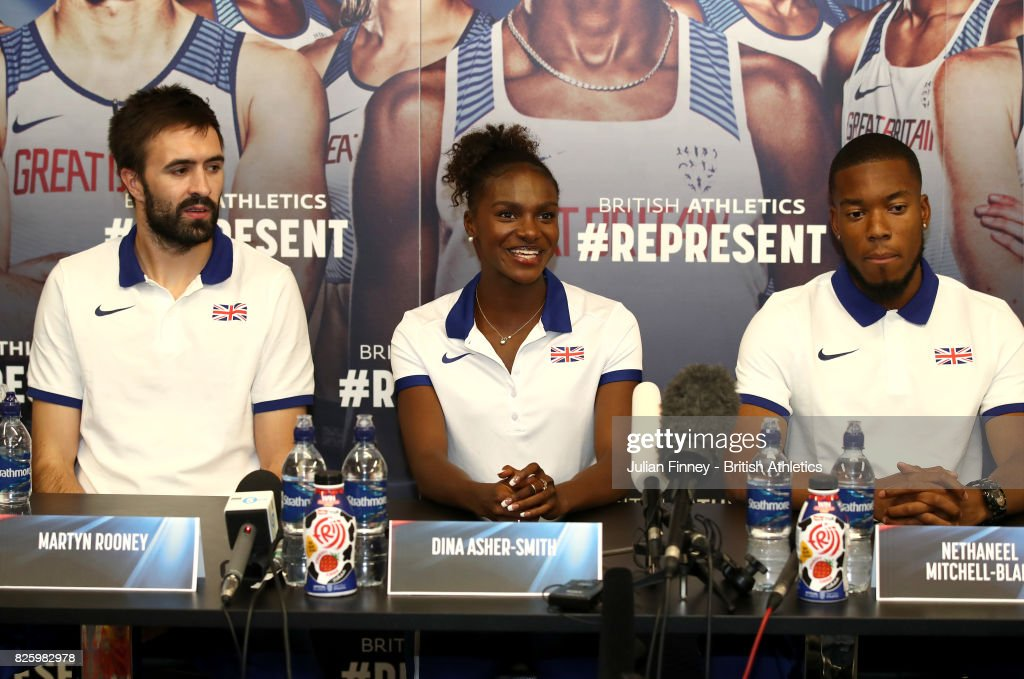 Martyn Rooney, Dina Asher-Smith and Nethaneel Mitchell-Blake of Great Britain talk to the media during previews for the 16th IAAF World Athletics Championships London 2017 at The London Stadium on August 3, 2017 in London, United Kingdom.