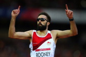 Martyn Rooney of England celebrates after competing in the Men's 400 metres semifinal at Hampden Park during day six of the Glasgow 2014 Commonwealth...
