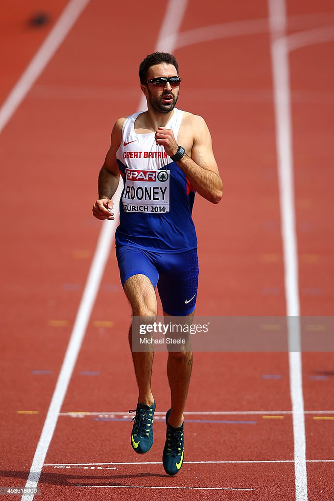 Martyn Rooney of Great Britain and Northern Ireland competes in the Men's 400 metres hurdles heats during day one of the 22nd European Athletics Championships at Stadium Letzigrund on August 12, 2014 in Zurich, Switzerland.