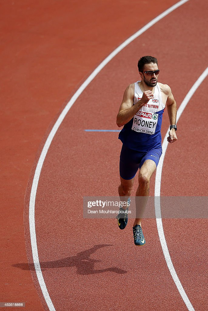 Martyn Rooney of Great Britain and Northern Ireland competes in the Men's 400 metres heats during day one of the 22nd European Athletics Championships at Stadium Letzigrund on August 12, 2014 in Zurich, Switzerland.