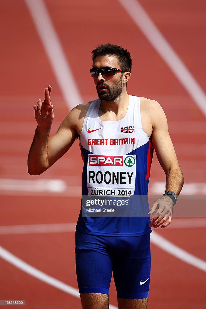 Martyn Rooney of Great Britain and Northern Ireland crosses his fingers after the Men's 400 metres hurdles heats during day one of the 22nd European Athletics Championships at Stadium Letzigrund on August 12, 2014 in Zurich, Switzerland.