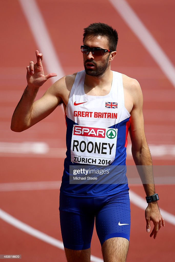 <a gi-track='captionPersonalityLinkClicked' href=/galleries/search?phrase=Martyn+Rooney&family=editorial&specificpeople=703546 ng-click='$event.stopPropagation()'>Martyn Rooney</a> of Great Britain and Northern Ireland crosses his fingers after the Men's 400 metres hurdles heats during day one of the 22nd European Athletics Championships at Stadium Letzigrund on August 12, 2014 in Zurich, Switzerland.