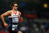Martyn Rooney of Great Britain competes in Men's 400m Semi Final on Day 9 of the London 2012 Olympic Games at the Olympic Stadium on August 5 2012 in...