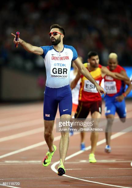 Martyn Rooney of Great Britain crosses the line to win bronze in the Men's 4x400 Metres Relay final during day ten of the 16th IAAF World Athletics...