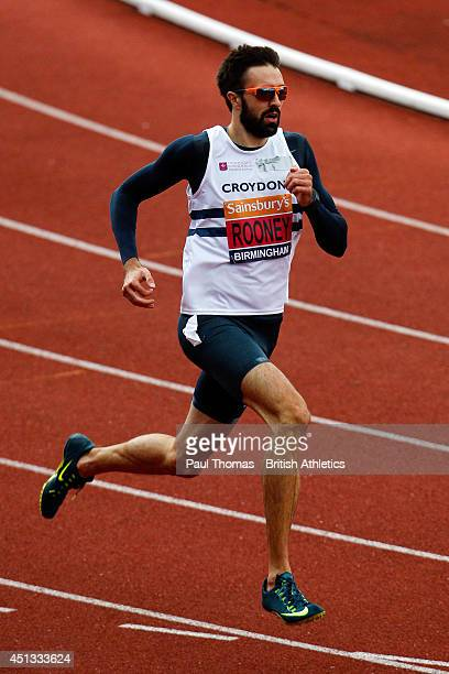 Martyn Rooney runs in the 400m heats during day one of the Sainsbury's British Championships at Birmingham Alexander Stadium on June 27 2014 in...