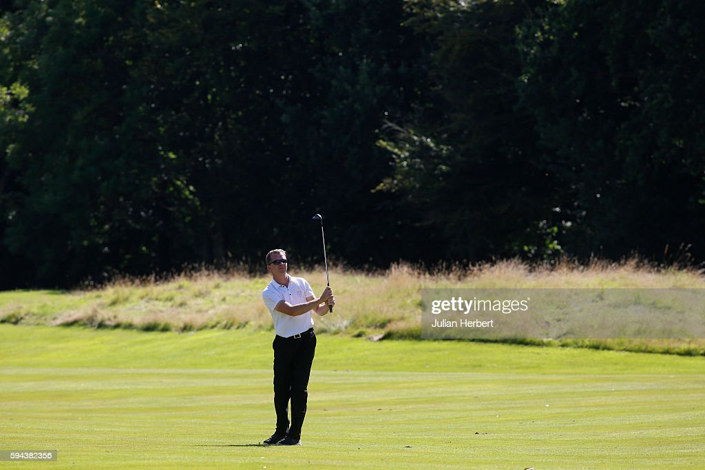 Martyn Thompson of Parkstone Golf Club plays a shot during The PGA ProCaptain South West Qualifier at Bowood Golf Course on August 23 2016 in...