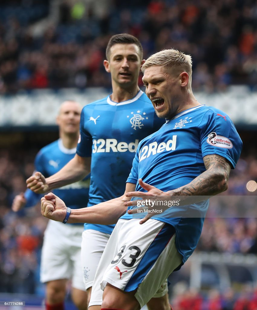 Martyn Waghorn of Rangers celebrates after he scores from the penalty spot during the Scottish Cup Quarter final match between Rangers and Hamilton Academical at Ibrox Stadium on March 4, 2017 in Glasgow, Scotland.