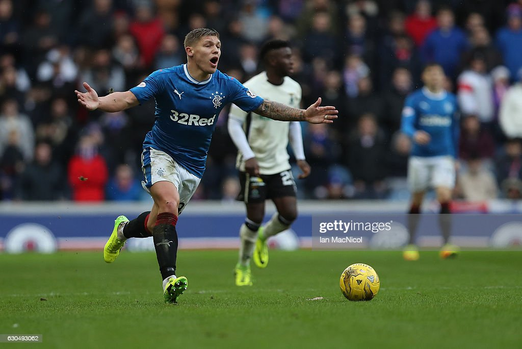 Martyn Waghorn of Rangers reacts during the Scottish Premier League match between Rangers and Inverness Caledonian Thistle at Ibrox Stadium on December 24, 2016 in Glasgow, Scotland.