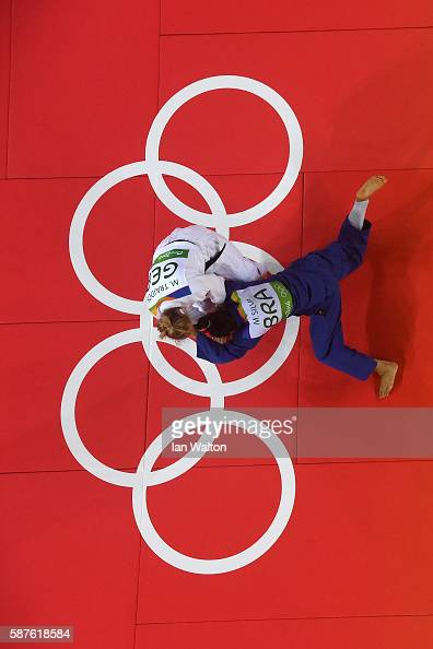 Martyna Trajdos of Germany and Mariana Silva of Brazil compete during the Women's 63kg bout on Day 4 of the Rio 2016 Olympic Games at the Carioca...