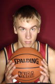Martynas Andriuskevicius of the Cleveland Cavaliers poses during a portrait session with the 2005 NBA rookie class on August 10 2005 at the MSG...
