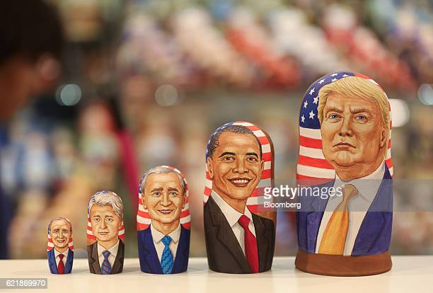A martyoshka doll showing Donald Trump US Presidentelect right sits beside dolls representing former US presidents including Barack Obama second...