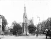 Martyrs Memorial St Giles Oxford Oxfordshire c1860c1922 Viewed from the north showing the statue of Thomas Cranmer holding his Bible