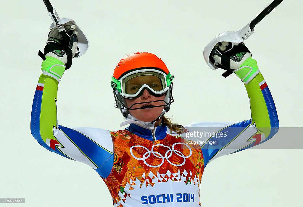 <a gi-track='captionPersonalityLinkClicked' href=/galleries/search?phrase=Marusa+Ferk&family=editorial&specificpeople=4157323 ng-click='$event.stopPropagation()'>Marusa Ferk</a> of Slovenia celebrates after her second run during the Women's Slalom during day 14 of the Sochi 2014 Winter Olympics at Rosa Khutor Alpine Center on February 21, 2014 in Sochi, Russia.