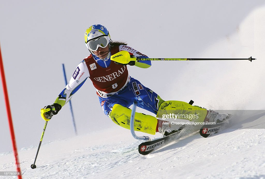 <a gi-track='captionPersonalityLinkClicked' href=/galleries/search?phrase=Marusa+Ferk&family=editorial&specificpeople=4157323 ng-click='$event.stopPropagation()'>Marusa Ferk</a> of Slovenia during the Audi FIS Alpine Ski World Cup Women's Super Combined on January 27, 2012 in St.Moritz, Switzerland.