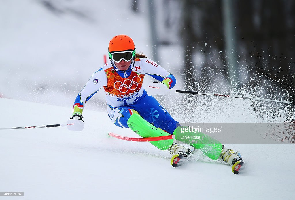 <a gi-track='captionPersonalityLinkClicked' href=/galleries/search?phrase=Marusa+Ferk&family=editorial&specificpeople=4157323 ng-click='$event.stopPropagation()'>Marusa Ferk</a> of Slovenia in action during the Alpine Skiing Women's Super Combined Slalom on day 3 of the Sochi 2014 Winter Olympics at Rosa Khutor Alpine Center on February 10, 2014 in Sochi, Russia.