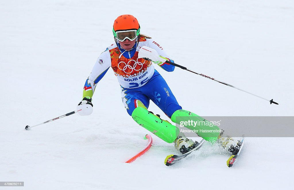 <a gi-track='captionPersonalityLinkClicked' href=/galleries/search?phrase=Marusa+Ferk&family=editorial&specificpeople=4157323 ng-click='$event.stopPropagation()'>Marusa Ferk</a> of Slovenia in action during the Women's Slalom during day 14 of the Sochi 2014 Winter Olympics at Rosa Khutor Alpine Center on February 21, 2014 in Sochi, Russia.