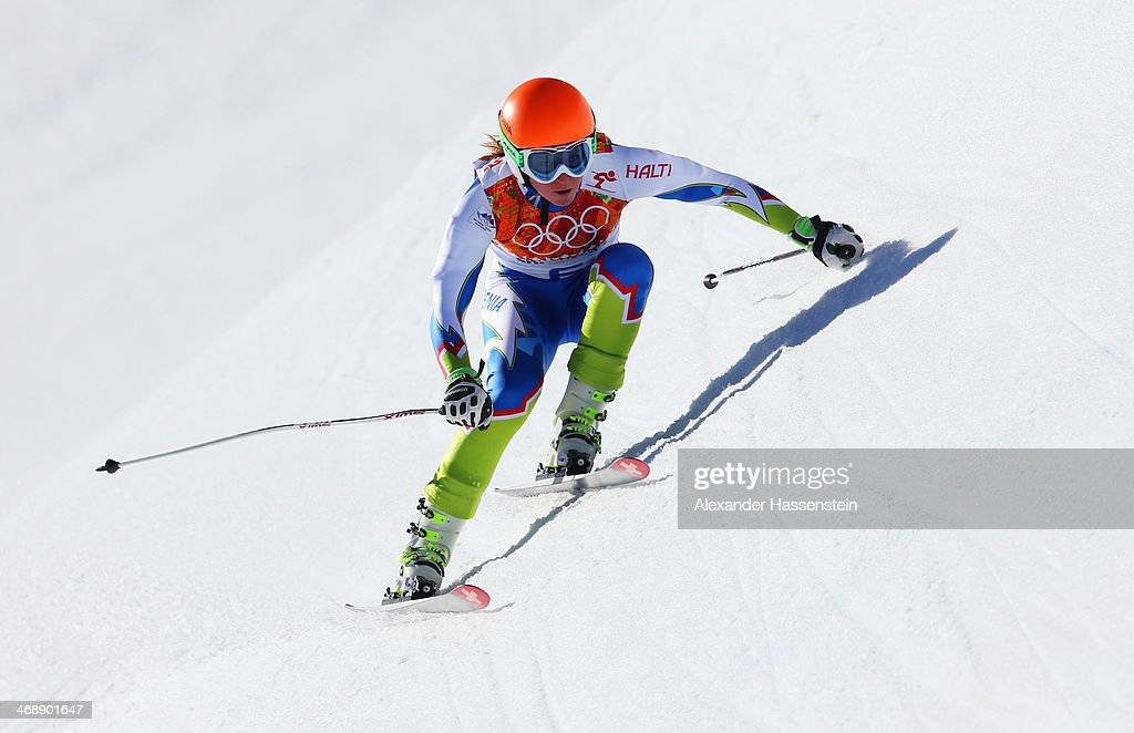 <a gi-track='captionPersonalityLinkClicked' href=/galleries/search?phrase=Marusa+Ferk&family=editorial&specificpeople=4157323 ng-click='$event.stopPropagation()'>Marusa Ferk</a> of Slovenia skis during the Alpine Skiing Women's Downhill on day 5 of the Sochi 2014 Winter Olympics at Rosa Khutor Alpine Center on February 12, 2014 in Sochi, Russia.