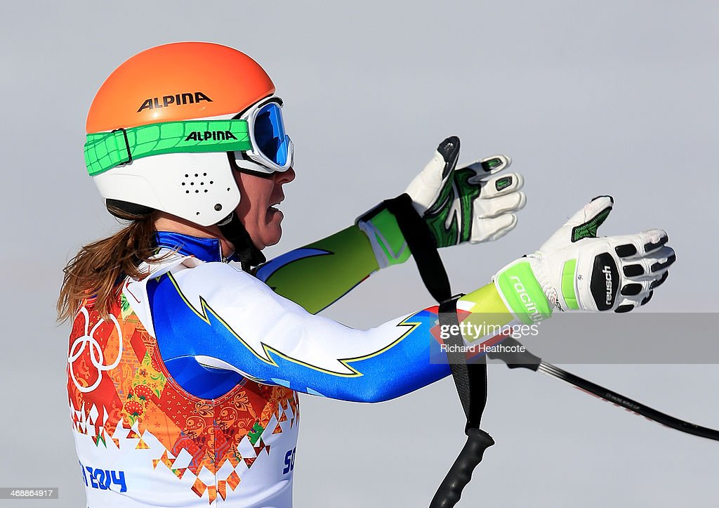 <a gi-track='captionPersonalityLinkClicked' href=/galleries/search?phrase=Marusa+Ferk&family=editorial&specificpeople=4157323 ng-click='$event.stopPropagation()'>Marusa Ferk</a> of Slovenia skis finishes a run during the Alpine Skiing Women's Downhill on day 5 of the Sochi 2014 Winter Olympics at Rosa Khutor Alpine Center on February 12, 2014 in Sochi, Russia.