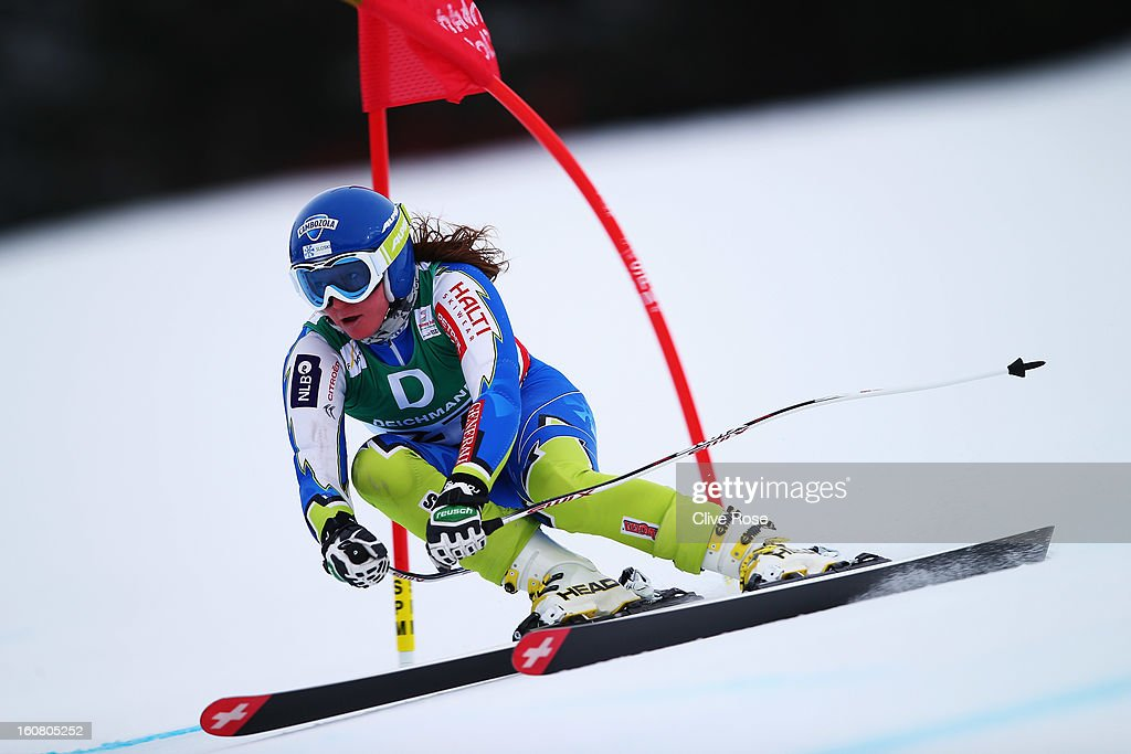 <a gi-track='captionPersonalityLinkClicked' href=/galleries/search?phrase=Marusa+Ferk&family=editorial&specificpeople=4157323 ng-click='$event.stopPropagation()'>Marusa Ferk</a> of Slovenia skis in the Women's Downhill Training during the Alpine FIS Ski World Championships on February 6, 2013 in Schladming, Austria.