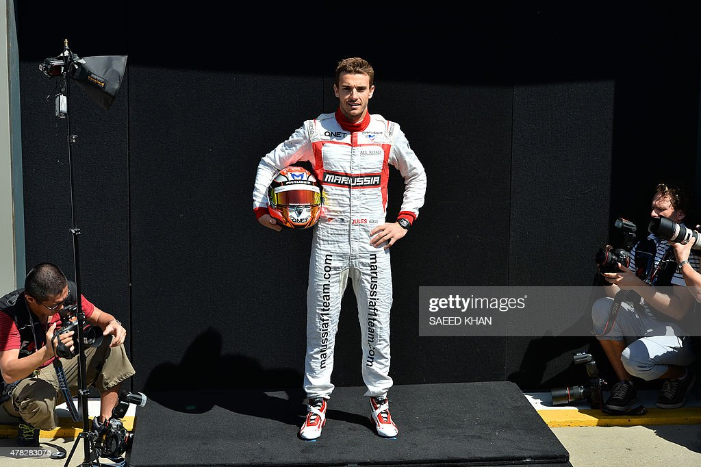 Marussia driver <a gi-track='captionPersonalityLinkClicked' href=/galleries/search?phrase=Jules+Bianchi&family=editorial&specificpeople=3942007 ng-click='$event.stopPropagation()'>Jules Bianchi</a> of France poses during a photo shoot ahead of the Formula One Australian Grand Prix in Melbourne on March 13, 2014. AFP PHOTO / Saeed KHAN USE
