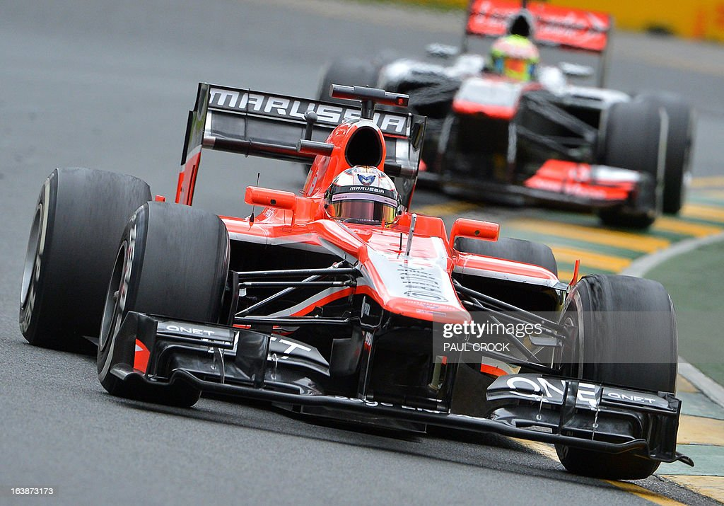 Marussia driver Jules Bianchi of France races through a corner during the Formula One Australian Grand Prix in Melbourne on March 17, 2013. IMAGE RESTRICTED TO EDITORIAL USE - STRICTLY NO COMMERCIAL USE AFP PHOTO / Paul CROCK