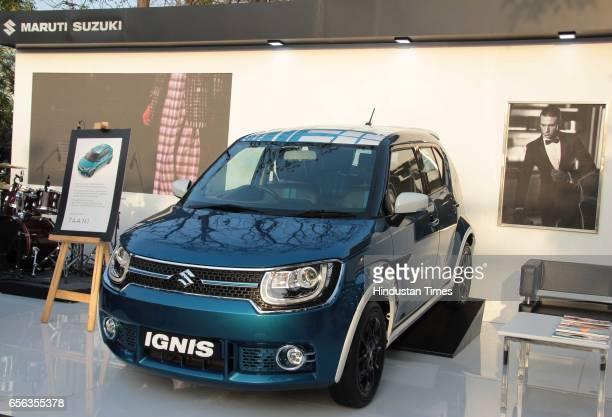Maruti Suzuki's premium urban city car Ignis displayed during the Amazon India Fashion Week Autumn Winter 2017 at Jawahar Lal Nehru Stadium Lodhi...