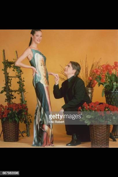 Mar{va Galantier Miss France 1999 and the singer Serge Lama