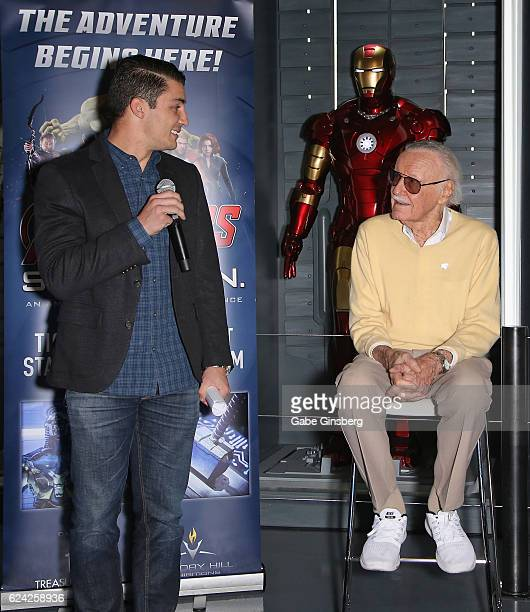 Marvel Avengers STATION general manager Daniel Pearce and comic book icon Stan Lee speak at Marvel Avengers STATION at the Treasure Island Hotel...