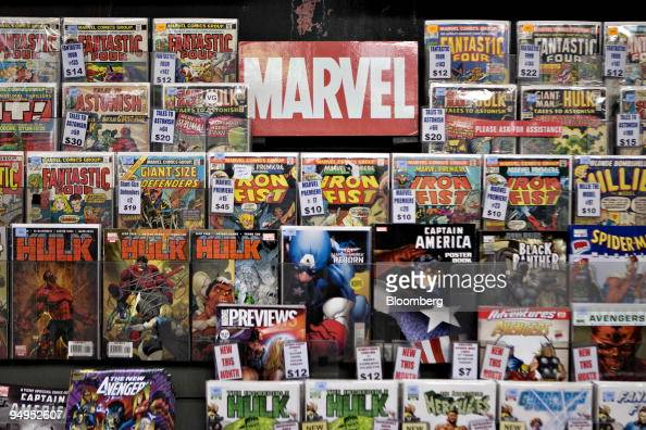 Marvel comics sit on display at Midtown Comics in New York US on Monday Aug 31 2009 Walt Disney Co said it agreed to buy Marvel Entertainment Inc for...