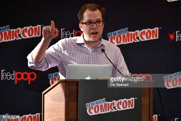 Marvel Editor Nick Lowe speaks during Marvel Legacy Next Big Thing panel during 2017 New York Comic Con Day 1 on October 5 2017 in New York City