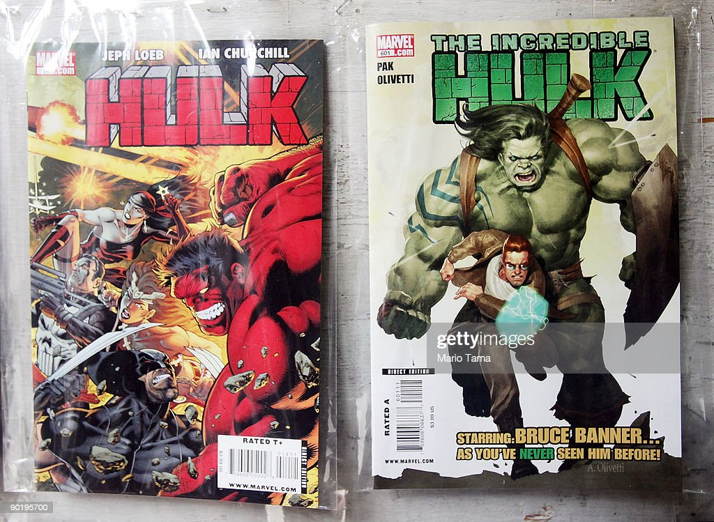 Marvel Incredible Hulk comics are seen for sale at St. Mark's Comics August 31, 2009 in New York City. The Walt Disney Co. announced that it plans to acquire Marvel Entertainment Inc. for $4 billion in stock and cash, bringing 5,000 Marvel characters including Spider Man and Incredible Hulk under the Disney umbrella.