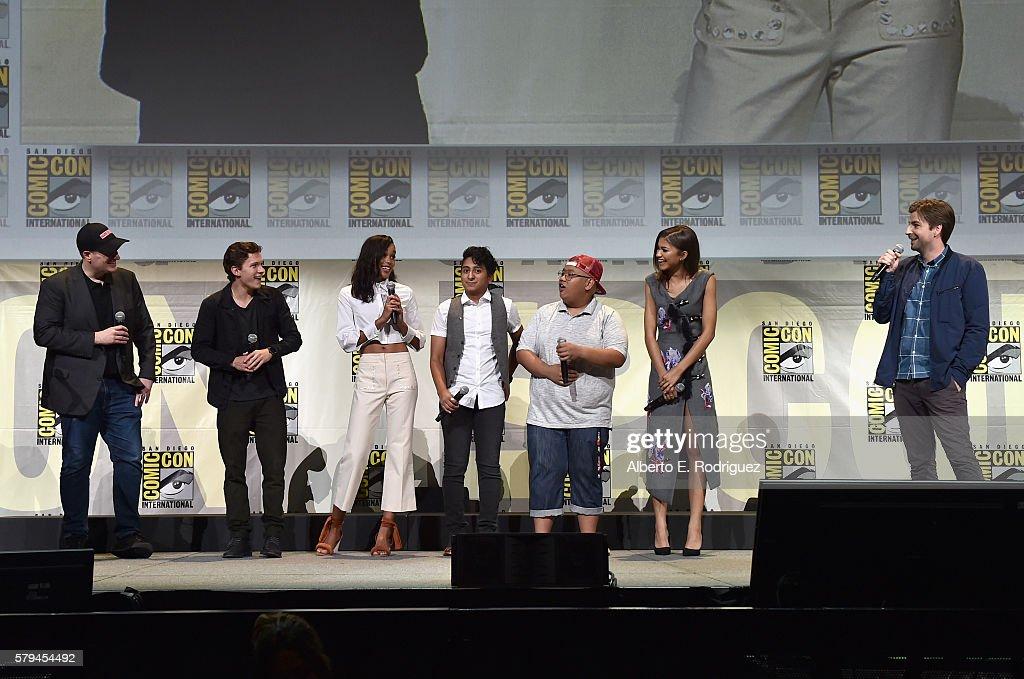 Marvel Studios president and producer Kevin Feige actors Tom Holland Laura Harrier Tony Revolori Jacob Batalon Zendaya and director Jon Watts from...