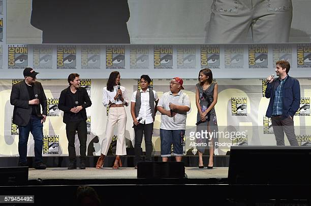 Marvel Studios president and producer Kevin Feige actors Tom Holland Laura Harrier Tony Revolori Jacob Batalon Zendaya and director Jon Watts from...