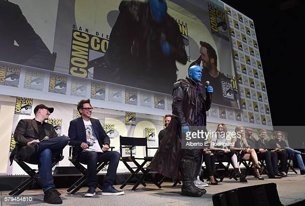 Marvel Studios president and producer Kevin Feige director James Gunn actors Chris Pratt Yondu Karen Gillan Pom Klementieff Dave Bautista Elizabeth...