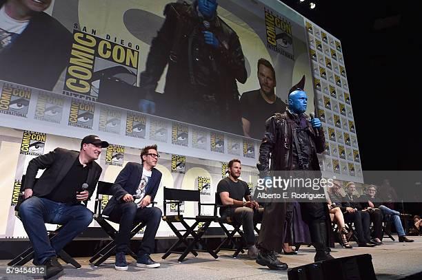 Marvel Studios president and producer Kevin Feige director James Gunn actors Chris Pratt Yondu Dave Bautista Elizabeth Debicki and Kurt Russell from...